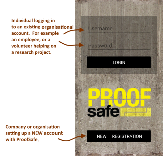 Proof Safe - How to login or register for offline digital forms for data collection in OHS / WHS or research